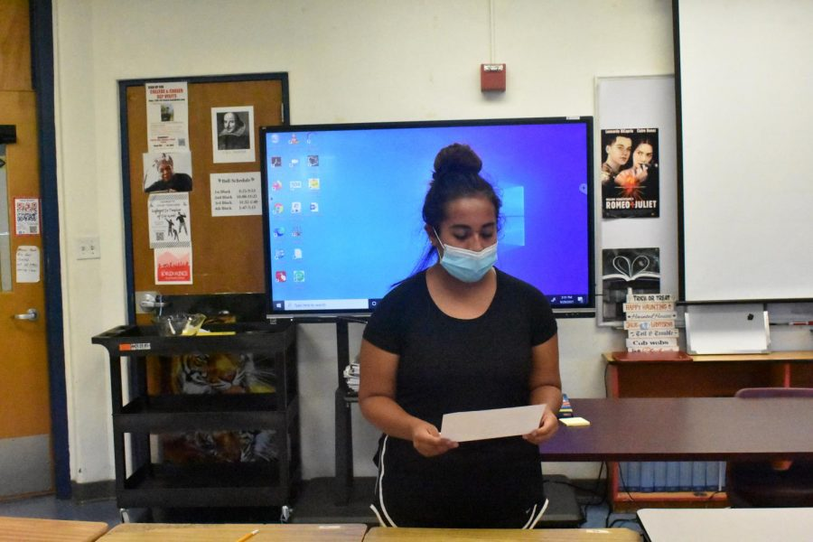Ava Vono reading a poem excerpt during the audition process.