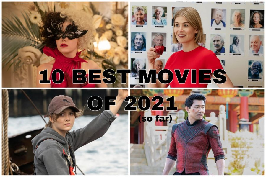 Graphic Made by Raya Isenstein From Top Right to Bottom Left; Emma Stone in Cruella, Rosamund Pike in I Care A Lot, Emilia Jones in Coda, Simu Liu in Shang-Chi and The Legend of the Ten Rings.
