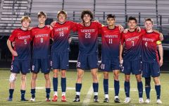 Lafayette Varsity Soccer celebrates their victory over Montgomery County